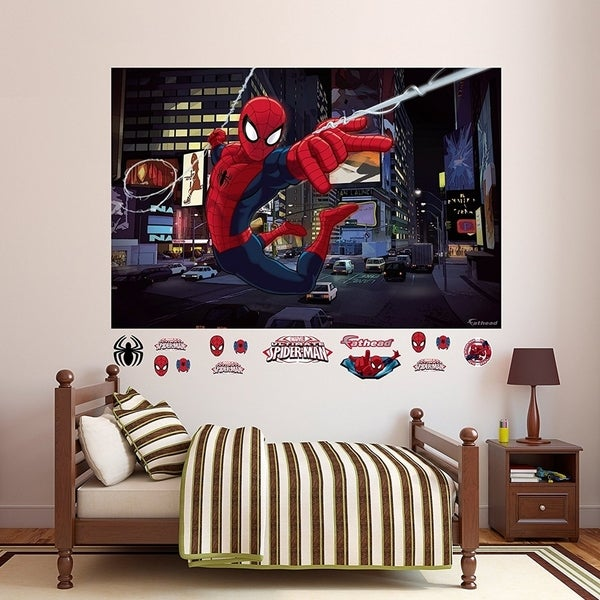 "Fathead Ultimate Spider-Man Mural Real Big Wall Decal 72"" W x 48"" H Wall Vinyl 29480057"