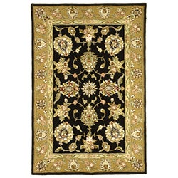 Safavieh Handmade Tabriz Black/ Gold Wool and Silk Rug (6' x 9')