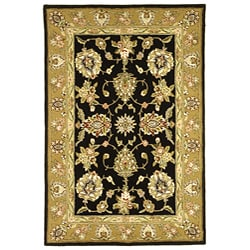 Handmade Tabriz Black/ Gold Wool and Silk Rug (6' x 9')