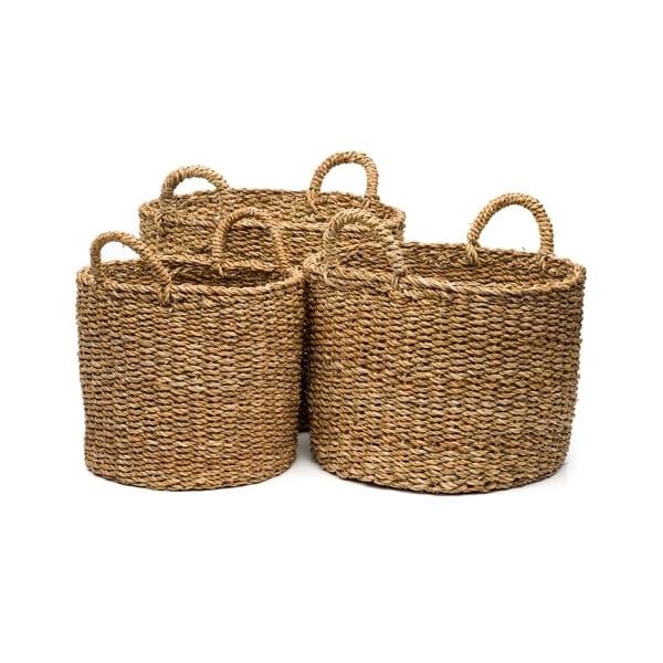 Handcrafted Oval Bengal Floor Baskets - Set of 3  (Bangladesh )
