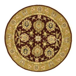Handmade Traditions Tabriz Red/ Gold Wool and Silk Rug (6' Round)