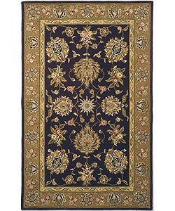 Safavieh Handmade Traditions Tabriz Black/ Gold Wool and Silk Rug (6' x 9')