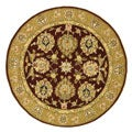 Handmade Traditions Tabriz Red/ Gold Wool and Silk Rug (8' Round)