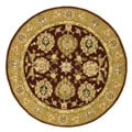 Safavieh Handmade Traditions Tabriz Red/ Gold Wool and Silk Rug (8' Round)