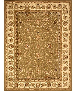Handmade Isfahan Sage/ Ivory Wool and Silk Rug (9'6 x 13'6)