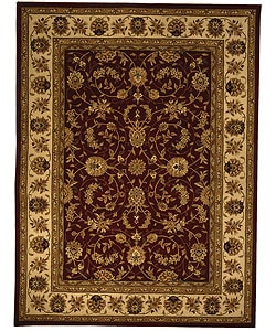 Handmade Isfahan Burgundy/ Ivory Wool and Silk Rug (9'6 x 13'6)