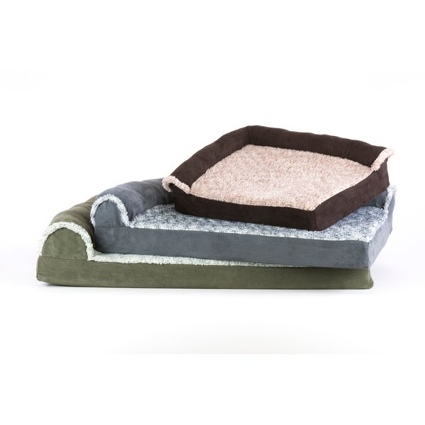 FurHaven Two-Tone Faux Fur & Suede Memory Top Deluxe Chaise Lounge Pet Bed 29502649
