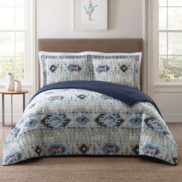 Style 212 Simone Tribal Stripe 3-Piece Cotton Face Comforter Set 29504329
