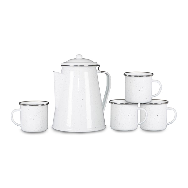 Stansport Enamel Percolator Coffee Pot & 4 Mug Set White Enamel 29519147