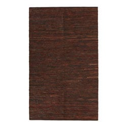 Hand-woven Chindi Brown Leather Rug (4' x 6')