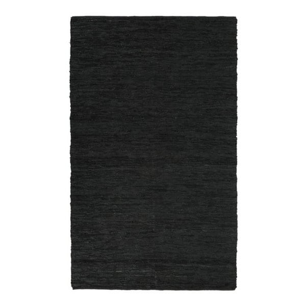 Hand Woven Chindi Black Leather Rug 8 X 10 10134412