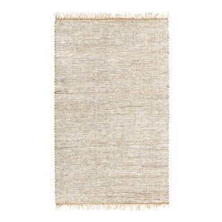 Hand-woven White Leather/ Hemp Rug (5' x 8')