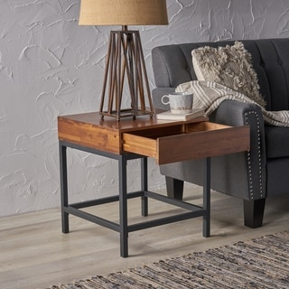 Ebany Industrial Square Acacia Wood Storage End Table by Christopher Knight Home