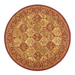 Hand-tufted Baktarri Red / Beige Wool Rug (6' Round)
