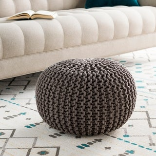 The Curated Nomad Baristo Round Cotton 20-inch Pouf