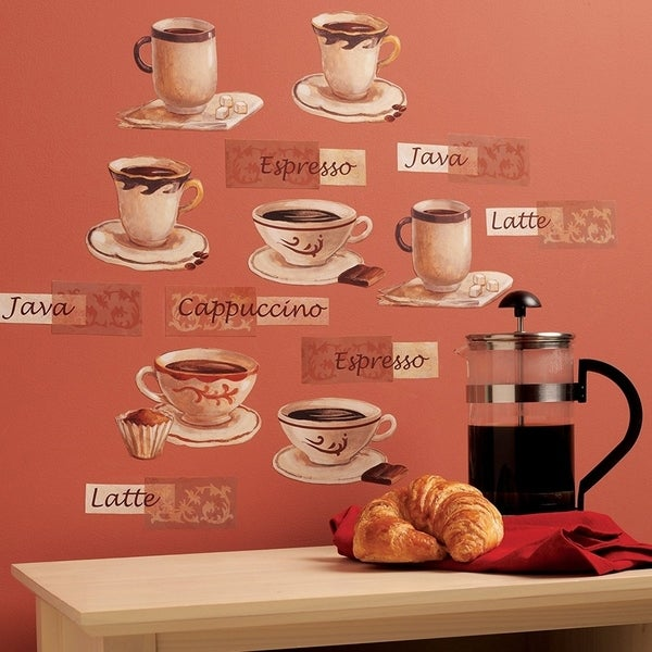 Wallies Wall Decals, Fresh Brew Coffee Cup Wall Stickers, Set of 16 Wall Vinyl 29595005
