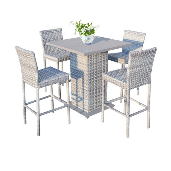 Catamaran Outdoor Patio Wicker Pub Table with 4 Bar Stools