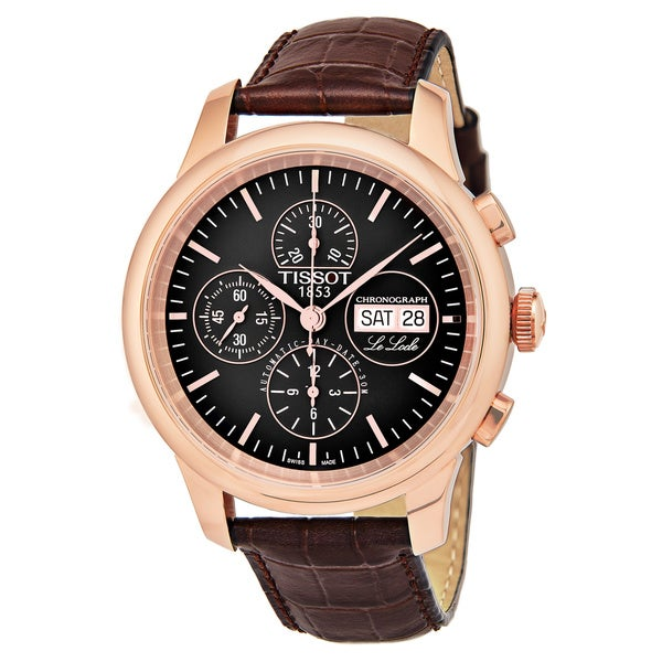 Tissot Men's T41.5.317.51 'Le Locle' Black Dial Brown Leather Strap Swiss Automatic Watch 29601157