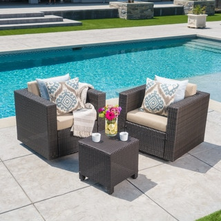 Puerta Outdoor Wicker 3-piece Swivel Chat Set with Cushions by Christopher Knight Home