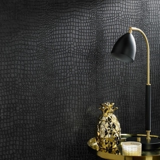 Graham & Brown Vinyl Crocodile Black Wallpaper