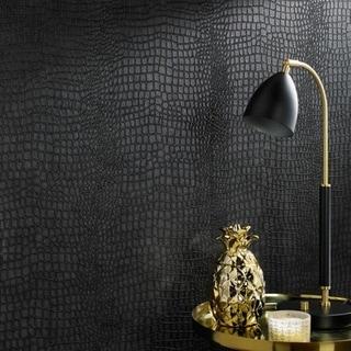 Graham & Brown Vinyl Crocodile Black Wallpaper