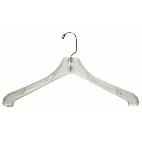 Heavy Duty Clear Plastic Coat Hanger, Extra Strong 1/2 Inch Thick Hangers with 360 Degree Chrome Swivel Hook 29604422