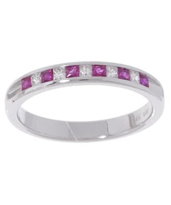 14k White Gold 1/6-ct. TDW Diamond & Ruby Ring