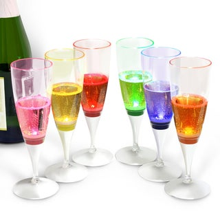 INNOKA 6-piece Set Multi-color Liquid Activated Light Up Glowing LED Champagne Flute Glass for Wedding/ Celebration/ Party