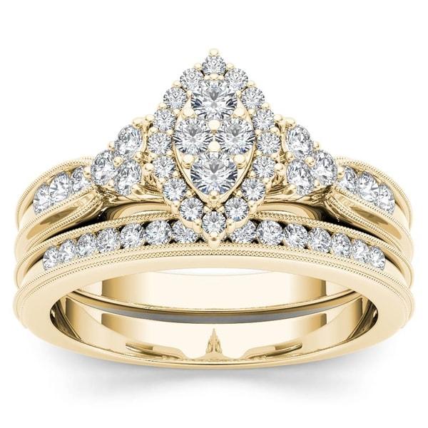 De Couer 10k Yellow Gold 1/2ct TDW Diamond Halo Engagement Ring Set 29622556