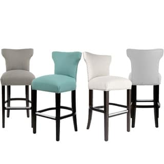 Sole Designs Bella Collection Modern SACHI Fabric Upholstered Counter Bar Stool with Nail Trim & Wingback Design