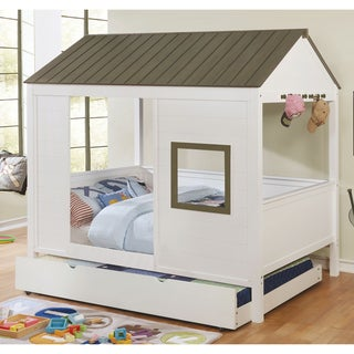 Furniture of America Jice Modern White Full Solid Wood Youth Bed