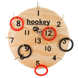 """Hey! Play! Hookey Ring Toss Game Set for Outdoor or Indoor Play, Safe Alternative to Darts - 12"""" Diameter"""
