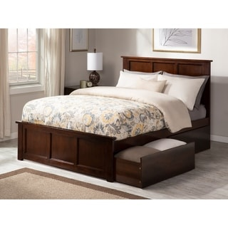 Madison Full Platform Bed with Matching Foot Board with 2 Urban Bed Drawers in Walnut