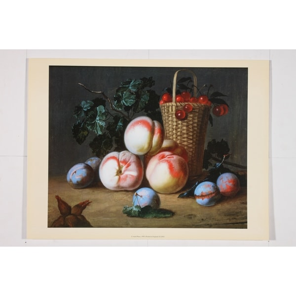 Still Life of Peaches Plums & Cherries Poster Print 29654485