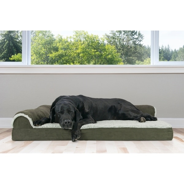 FurHaven Two-Tone Faux Fur and Suede Orthopedic Pet Bed 29655002