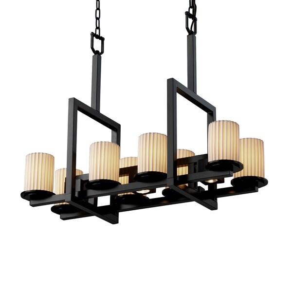 Justice Design Limoges Dakota Matte Black 8-up and 3-downlight Chandelier, Pleats Cylinder with Flat Rim Shade 29656057