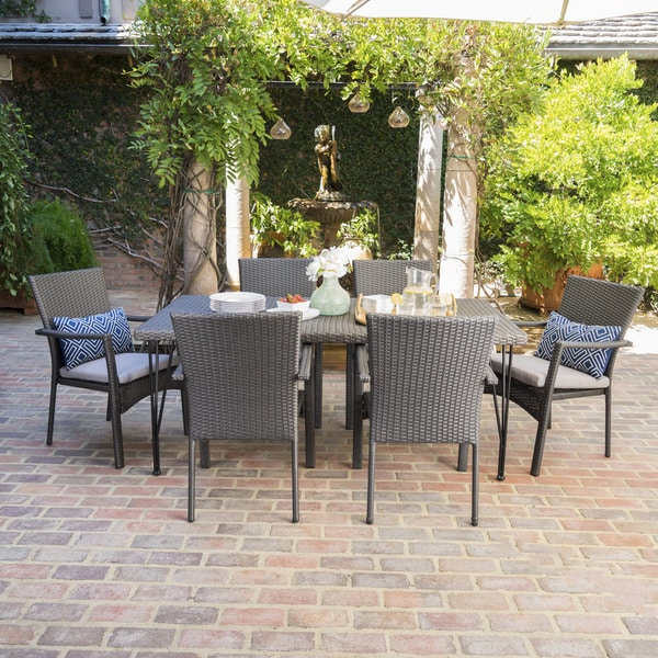 Luka Outdoor 7-Piece Rectangle Wicker Dining Set with Cushions by Christopher Knight Home -  302181