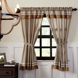 Farmhouse Curtains VHC Kendra Stripe Panel Pair Rod Pocket Cotton Striped Lace Cotton Burlap