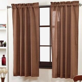 Red Primitive Curtains VHC Patriotic Patch Panel Pair Rod Pocket Cotton Plaid - 63x36