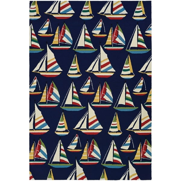 Couristan Outdoor Escape Yachting/Navy Indoor/Outdoor Area Rug - 2' x 4' 29690708