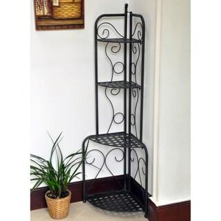 International Caravan Folding Iron Patio Corner Shelf