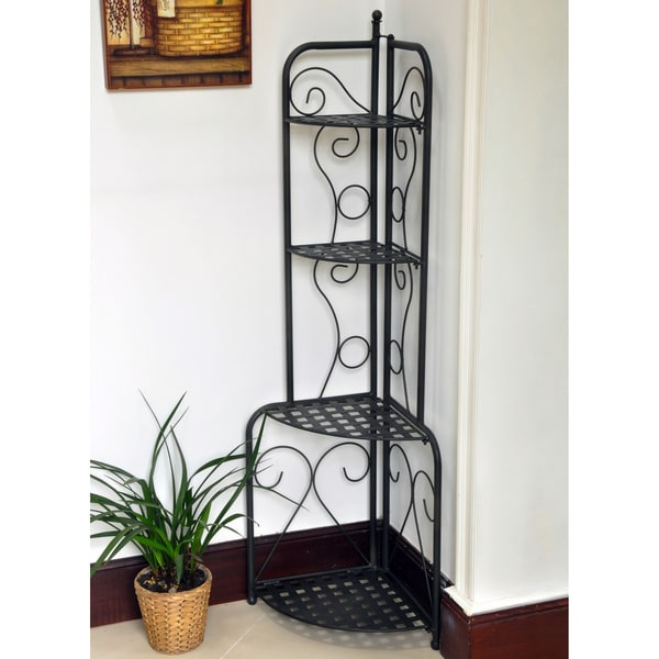 International Caravan Folding Iron Patio Corner Shelf