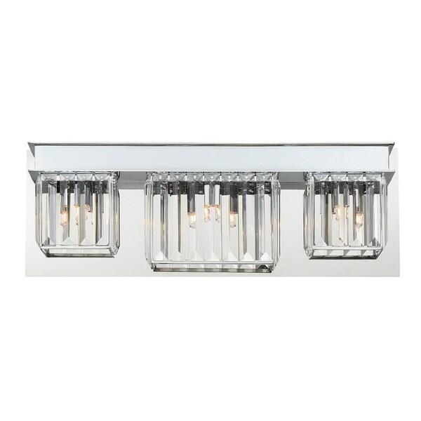 Eurofase Lumino Inset Clear Glass Prism Bathbar, Polished Chrome Finish, 3 G9 Light Bulbs, 20.5 Inches Wide - Model 29076-017 29790722