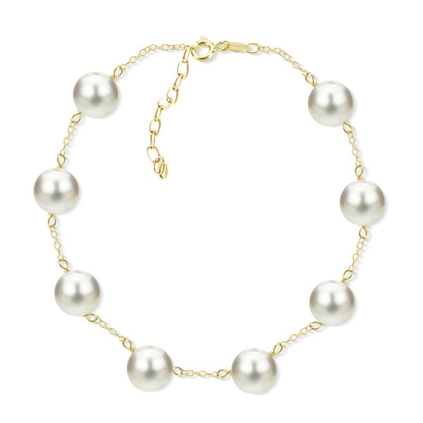 DaVonna 18k Yellow Gold Plated Silver 8-8.5 mm Freshwater Cultured Tin Cup Pearl Bracelet 7.5 inch + 1 inch Extension. 29797384
