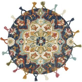 Alexander Home Hand-Hooked Sophie 100% Wool Ink Medallion Tassel Round Rug - 3' x 3' Round