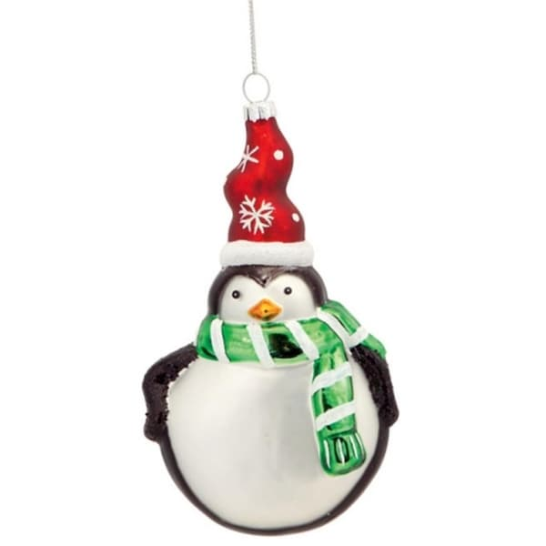 "6"" Friendly Penguin with Green Scarf and Red Snowflake Hat Glass Christmas Disc Ornament 29869711"
