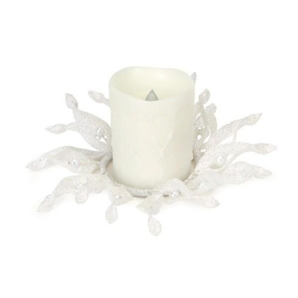 """9"""" Sparkling Whites Glittered White Christmas Candle Ring Holder 29869955"""
