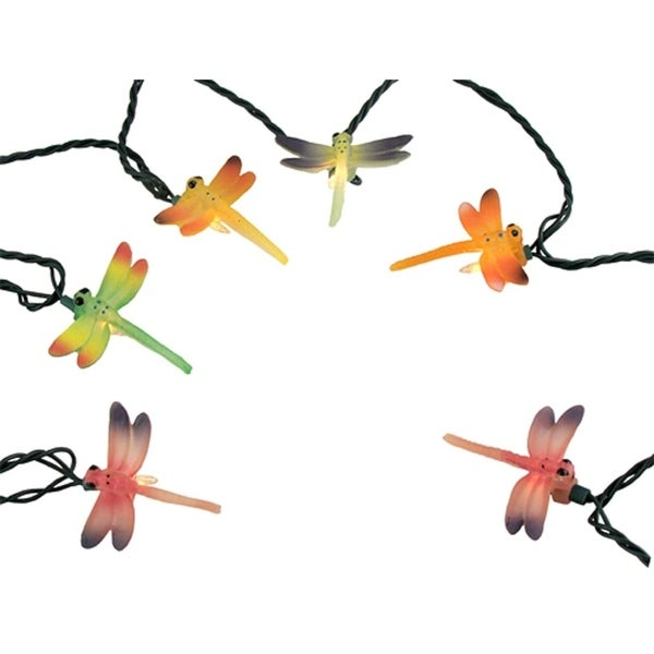 Set of 10 Multi-Color Dragonfly Summer Patio Novelty Christmas Lights Green Wire 29870692