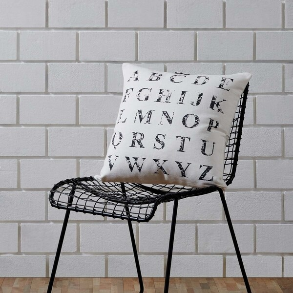 "Alphabet Creme 18"" x 18"" Pillow 29876848"