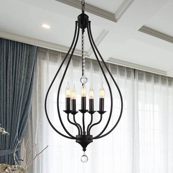 Amriana 5-Light 18-Inch Antique Bronze Cage Pendant 29883608